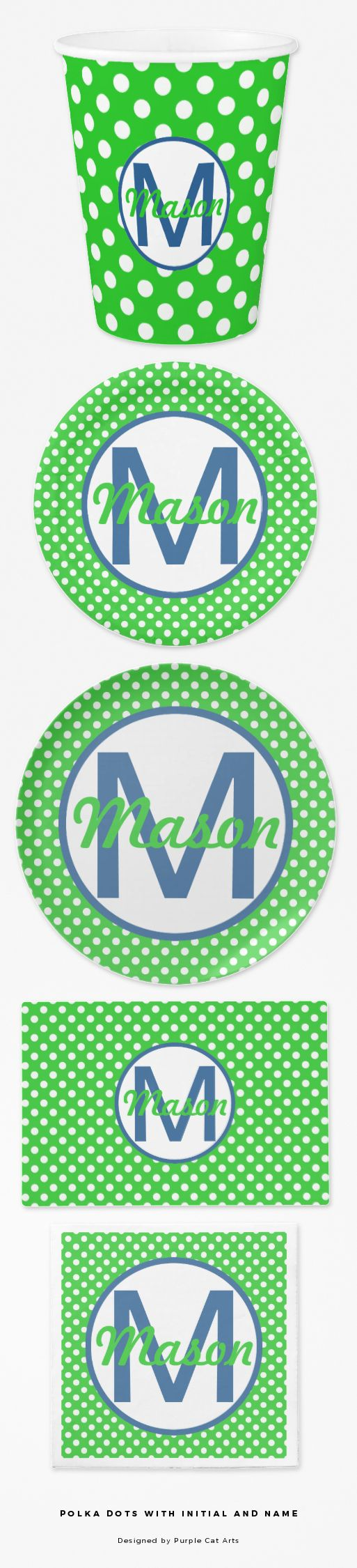 Polka Dots with Initial and Name breakfast, lunch and dinner ware for young children. #plate #napkin #cup #placemat #blueandgreen #polkadots