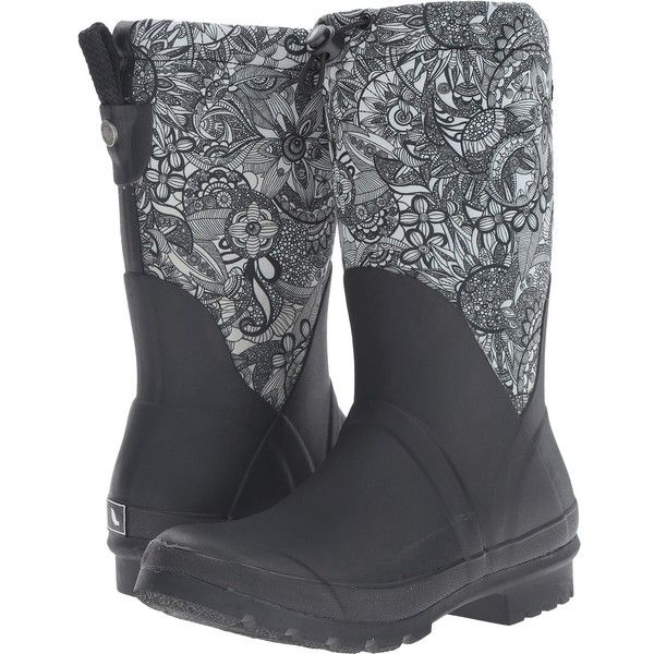 Sakroots Mezzo (Black/White Spirit Desert) Women's Pull-on Boots ($40) ❤ liked on Polyvore featuring shoes, boots, black, black slip-on shoes, lined rain boots, black wellington boots, black rubber boots and black platform boots