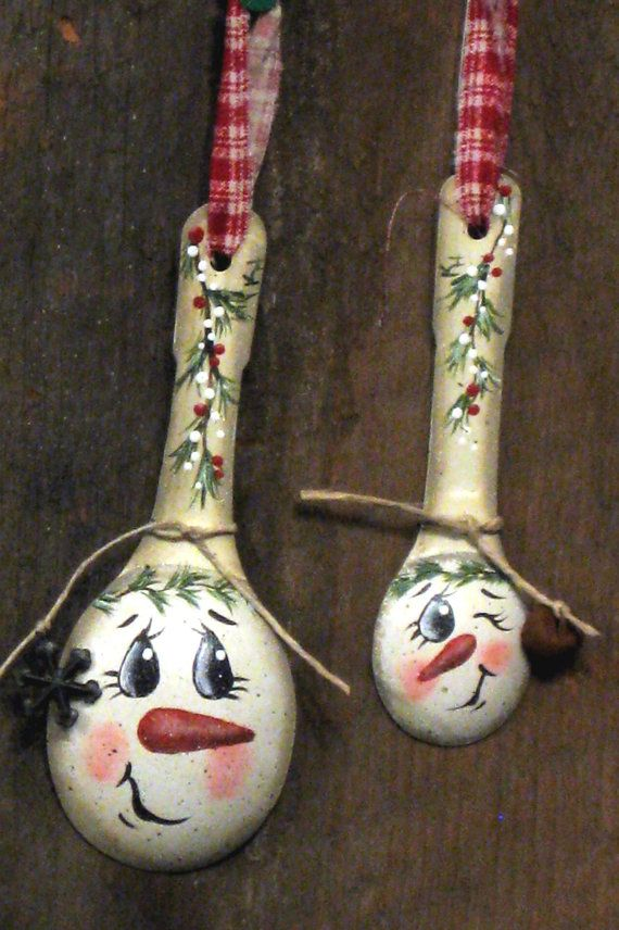 Handpainted measuring spoons Snowman decorations by KathysKountry, $8.00