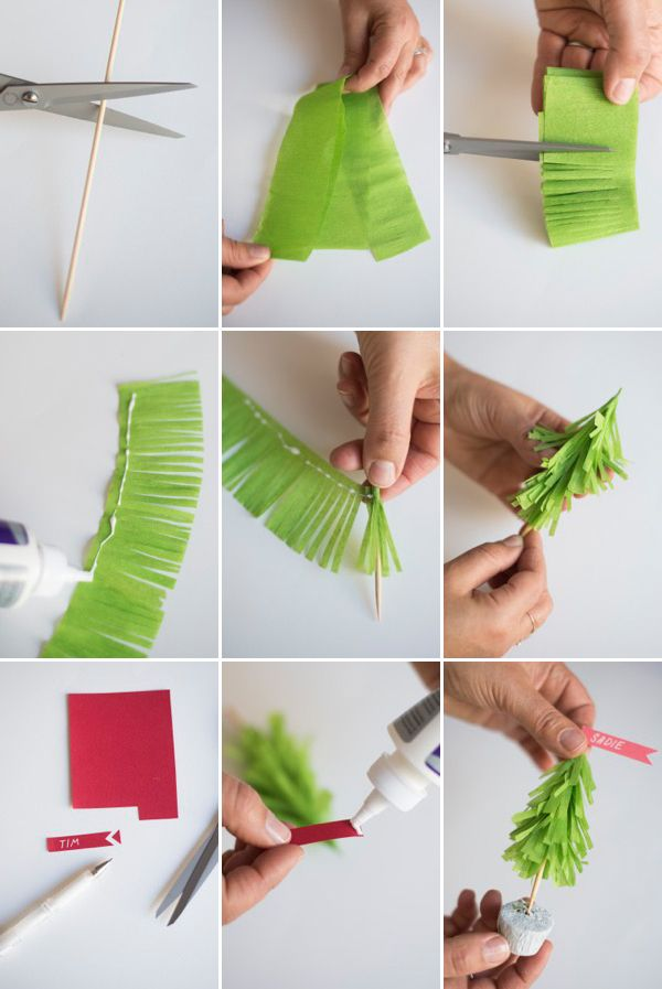 Crepe Paper Christmas Tree Name Cards DIY Oh Happy Day