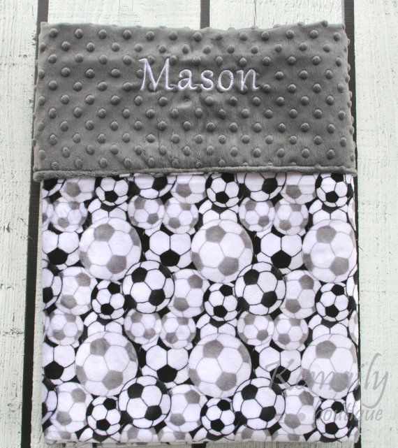 Personalized Baby Blanket Soccer Double Minky Boys by Kemaily