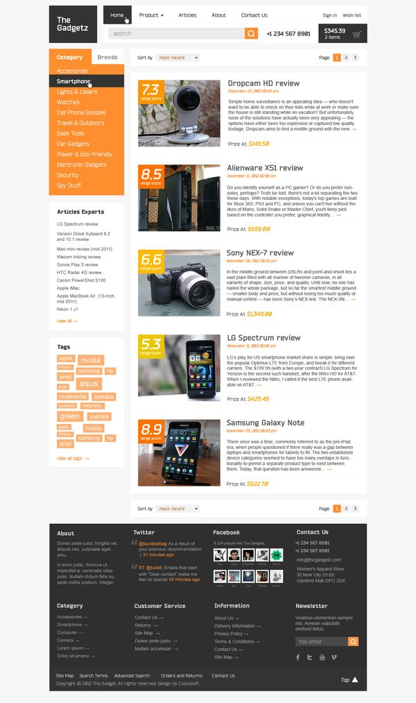Webpage design  The Gadgetz by basov design, via Behance #design #webpage