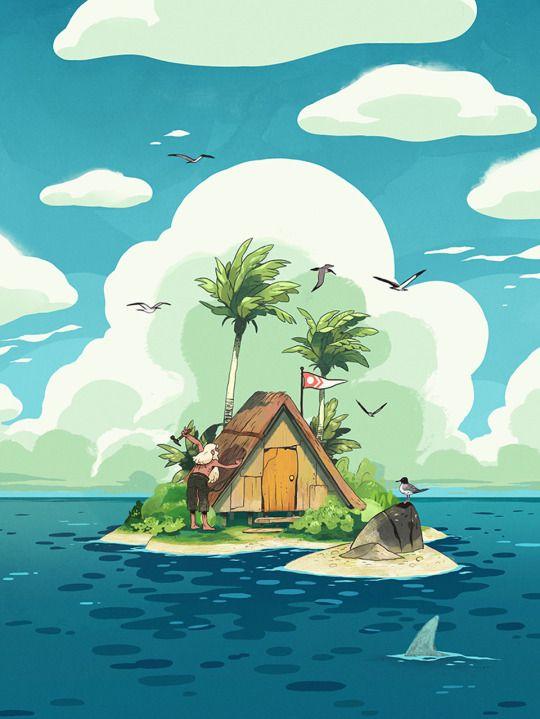 The Art Of Animation  바다 배경, 섬, 색감