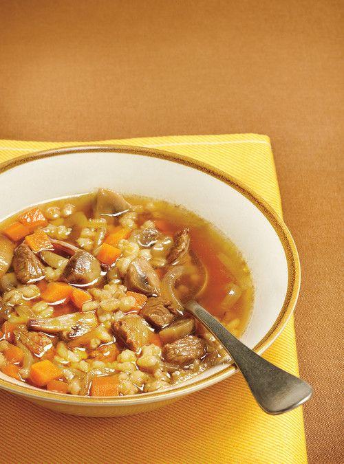 Soupe boeuf et orge À essayer sans champignons (remplacer par du céleri) et avec boeuf à fondue