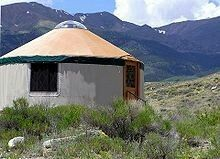 A traditional yurt (from the Turkic languages) or ger (Mongolian) is a portable, round tent covered with skins or felt and used as a dwelling by nomads in the steppes of Central Asia.