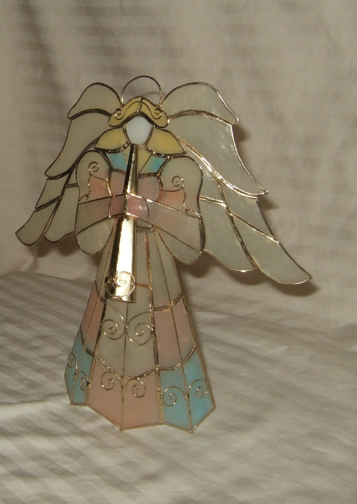 vintage   Christmas  angel tree topper, free standing, pastel colors, stained glass construction look  FREE SHIP cont. U.S.. $16.95, via Etsy.
