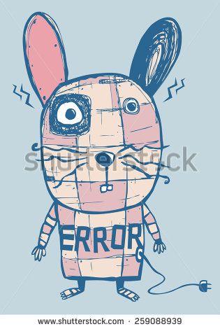 rabbit robot error  - stock vector