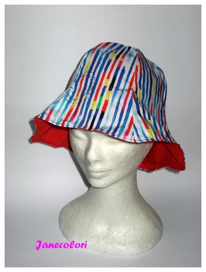 cappello da sole, a campana, reversibile, rosso blu, sun hat red and blue, chapeaux soleil : Cappelli, berretti di janecolori-accessoires
