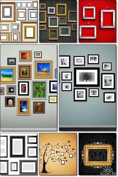 Фоторамки, старинные рамки для фотографий на стене  - Вектор