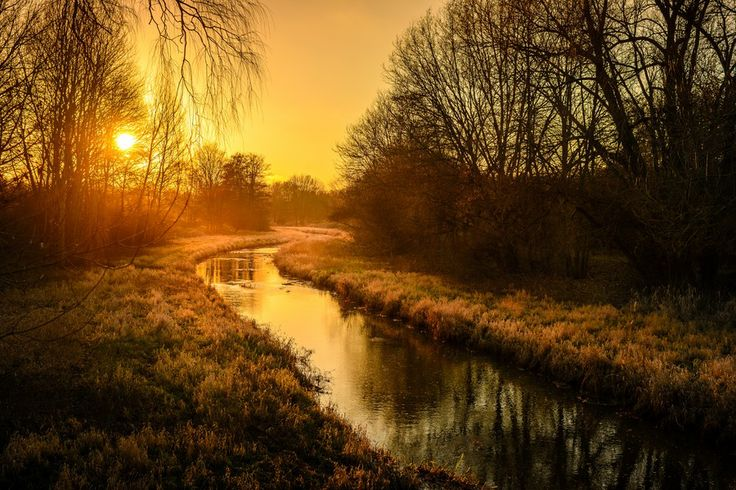 Small River Bow by Thomas Müller on 500px.// Beautiful sundown over a small river shackle in the city park of Burgdorf, germany