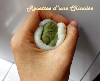 Recettes d'une Chinoise: Gâteaux de Lune (Yue Bing) glacés au thé vert 绿茶冰皮月饼…
