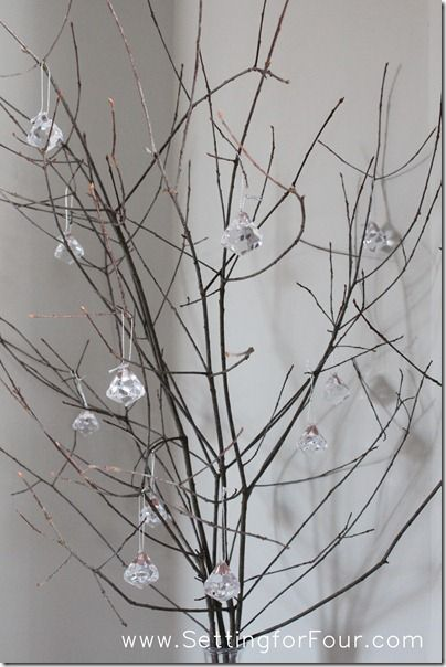 Sparkly Branch Centerpiece great for your home or a winter wedding tablescape!