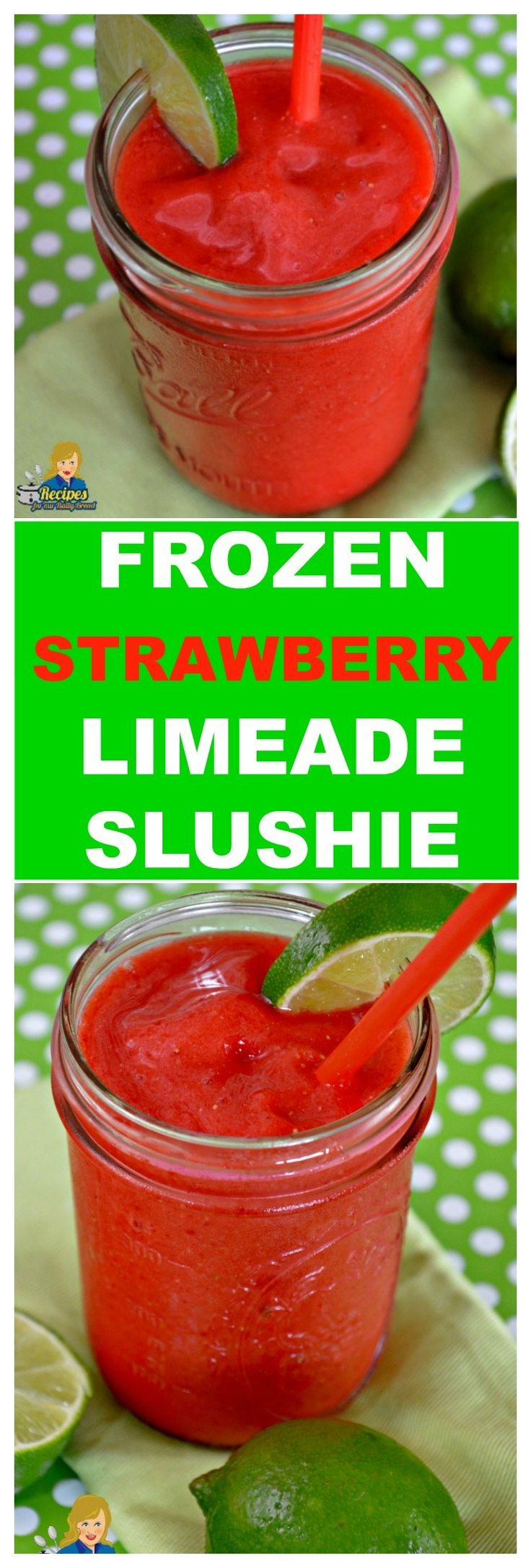 FROZEN STRAWBERRY LIMEADE SLUSHIE SWEET TANGY TERRIFIC This frozen strawberry limeade is the perfect summer treat.  It is so easy to make with frozen or fresh strawberries.    Celebrate 4th of July with this yummy frozen strawberry limeade.  It is cold, tangy, sweet and terrific not to mention how easy it is to make.   SEE FULL RECIPE HERE:  http://recipesforourdailybread.com/frozen-strawberry-limeade-slushie/