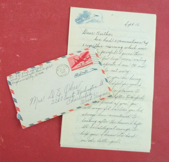 Vintage WWII Handwritten Army Husband to Wife by 5and10vintage