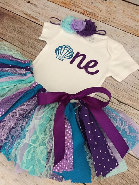2e5c534a23e99 Mermaid Birthday Outfit, Baby Girl Purple and Blue Birthday Outfit ...