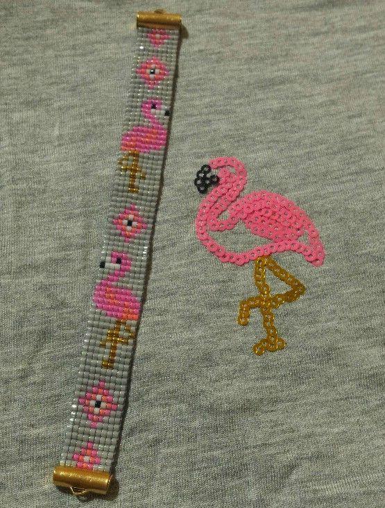Il fait bon , il fait chaud , c'est le temps des Flamingos tropicaux. Cette mini manchette est tissée sur métier en...