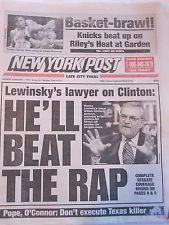 BILL CLINTON MONICA LEWINSKY NEW YORK POST NEWSPAPER 2/2/1998 NEW YORK KNICKS