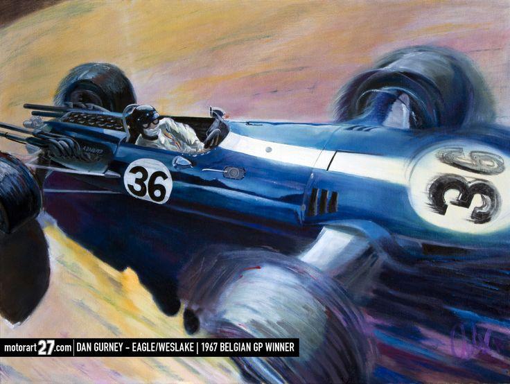 "Dan Gurney - Spa-Francorchamps 1967 30x40"" oil on canvas Original and prints are available.   #gurney, #eagle, #f1, #weslake, #allamericanracers, #spafrancorchamps, #lasource, #v12, #Originalartwork #oiloncanvas #motorart27 #AlexWakefieldFineArt #F1Art #original_art, #art_empire, #motorart27"