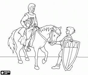 Een ridder met zijn paard en zijn schildknaap met het schild kleurplaat