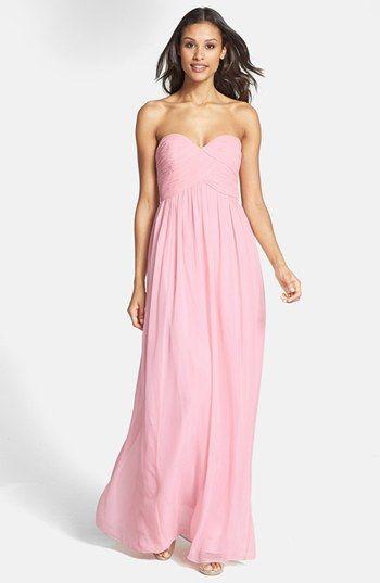 """""""Laura"""" full-length pink bridesmaid dress from Donna Morgan"""