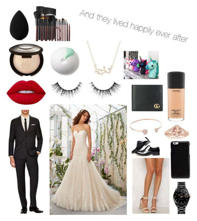 """My wedding day"" by divakitten12 on Polyvore featuring Yves Saint Laurent, Mori Lee, Lipstik, Rado, Maison Margiela, Becca, MAC Cosmetics, beautyblender, Kevyn Aucoin and Gucci"