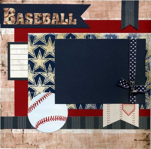 Baseball Scrapbook Pages | Baseball - 12x12 Premade Baseball or Softball Scrapbook Page