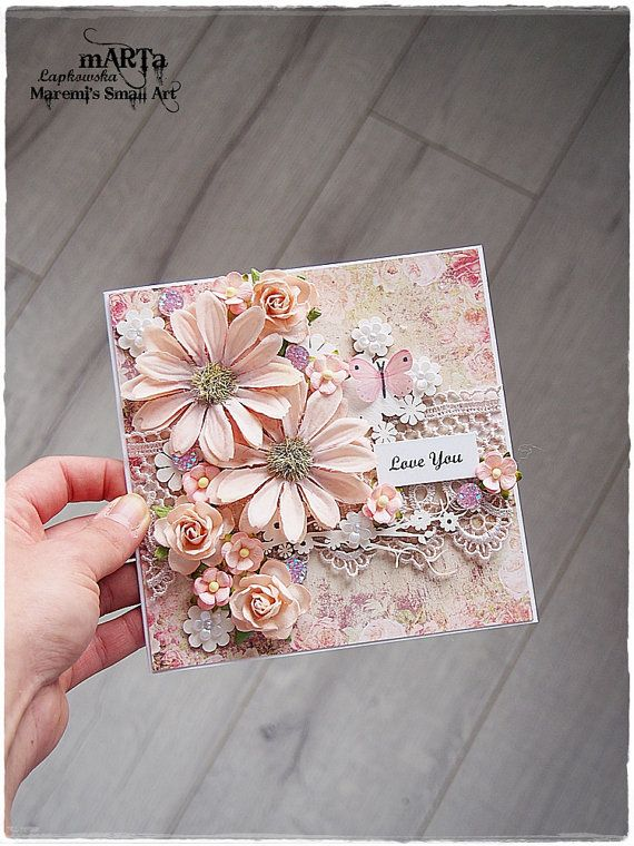 Handmade Love You Card, 3D greeting card, pink-salmon flower, for someone special, 6x6 card, blank card, shabby chic card, romantic card