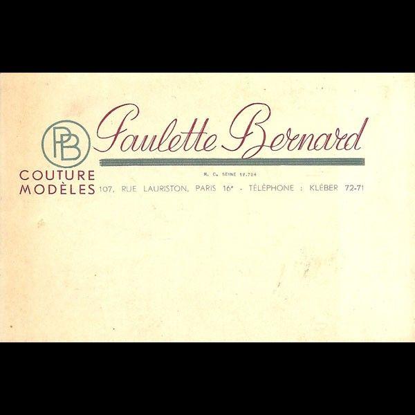 Carte de visite de la maison Paulette Bernard, 107 rue Lauriston à Paris (circa 1930)