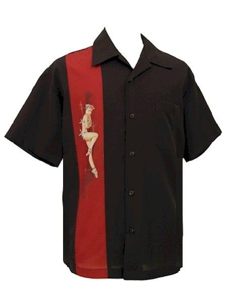 Mens Black Red PinUp Girl Panel Button Up Retro PinUp Girl Shirt