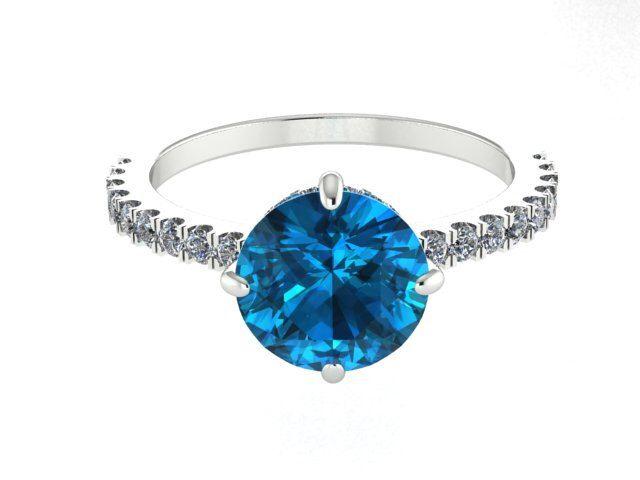 Wedding and Engagement Ring, Diamond Engagement Rings, Modern Diamond Halo Ring, London Blue Topaz Ring, Diamond Proposal Ring, Wedding Ring by BridalRings on Etsy https://www.etsy.com/listing/244264223/wedding-and-engagement-ring-diamond