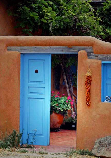 Thru the Blue Southwest Door  New Mexico Plaza  by CheyAnneSexton, $35.00