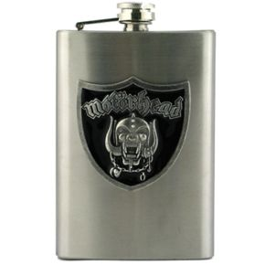 Motorhead Shield Stainless Steel Flask  Official Motorhead 8 oz. stainless steel flask features colorful applique. Applique is approx 2 Inches, made of hand poured fine metal with enamel colorfill.