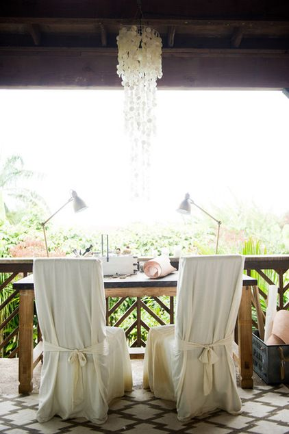Ashley Camper Photography Vande Velden crafts her sundial watches on the upper lanai. The Balinese worktable has a leather top studded with ...