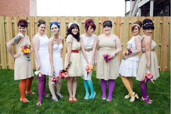 offbeat vintage bridesmaids. These colors are wrong, but would tights be a way to unify or add color?