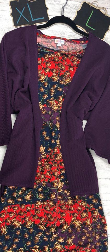 Come shop for your fall and winter wardrobe here! Just click on this Pin if you like this outfit styled by LulaRoe Bobbie's Dreamers. We have all the LulaRoe you're looking for! LulaRoe Julia Dress · LulaRoe Plum Purple Lindsay Kimono · Lularoe Outfits · LulaRoe Fall Wardrobe · LulaRoe Winter Wardrobe · LulaRoe Layering Options · LulaRoe Outfits for Work · Bobbie's Dreamers Outfits · Join our VIP Shopping Group at LulaRoe Bobbie's Dreamers! www.bobbiesdreamers.com