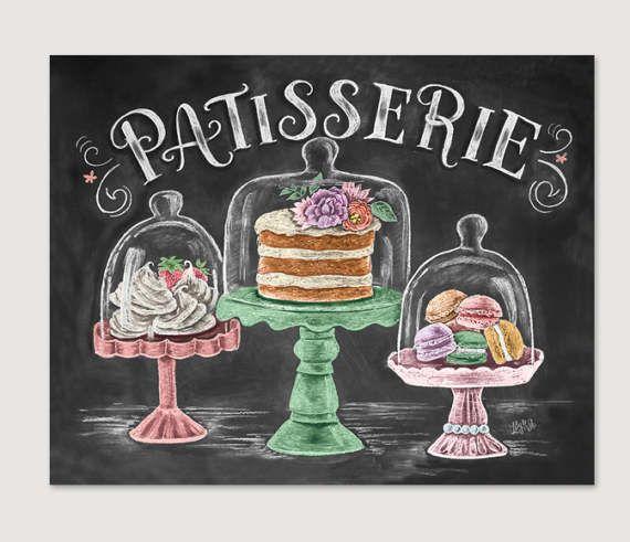 French Bakery Patisserie Chalk Art Spring Art by LilyandVal