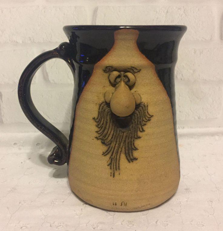 Peter Petrie Ugly Face Mug #4 Stoneware Pottery Maine 1974