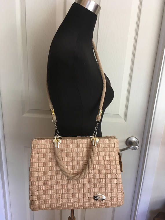 Vintage 1960s Beige Woven Handbag with Woven Rope Handles by
