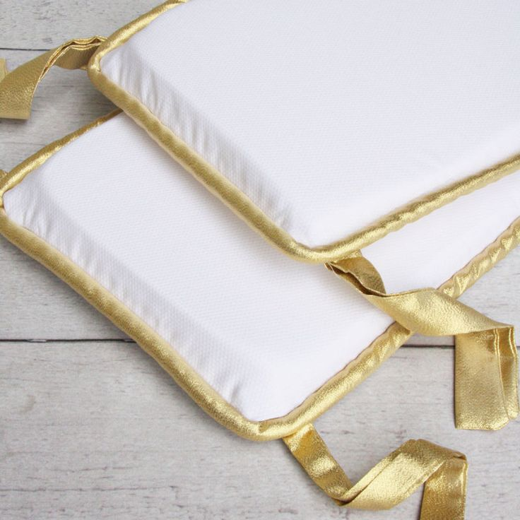 White Pique with Gold Piping Crib Bumper
