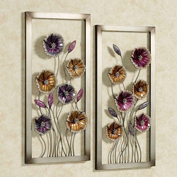 Charming Floral Metal Framed Wall Art Set Floral Metal Wall Art Floral Wall Art Flower Wall Art