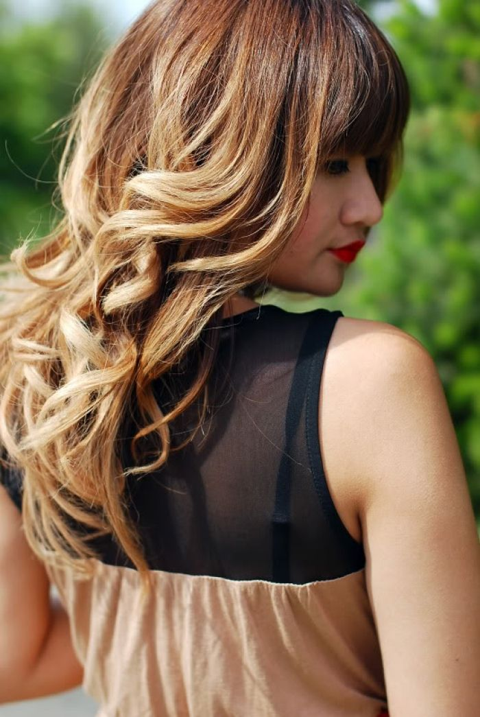 Spring Hair Blunt Bangs Loose Curls And Ombre Color