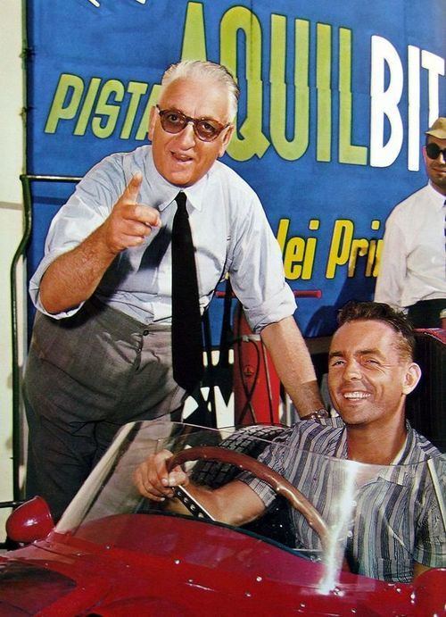 Enzo Ferrari and an impossibly young and cheerful Phil Hill.