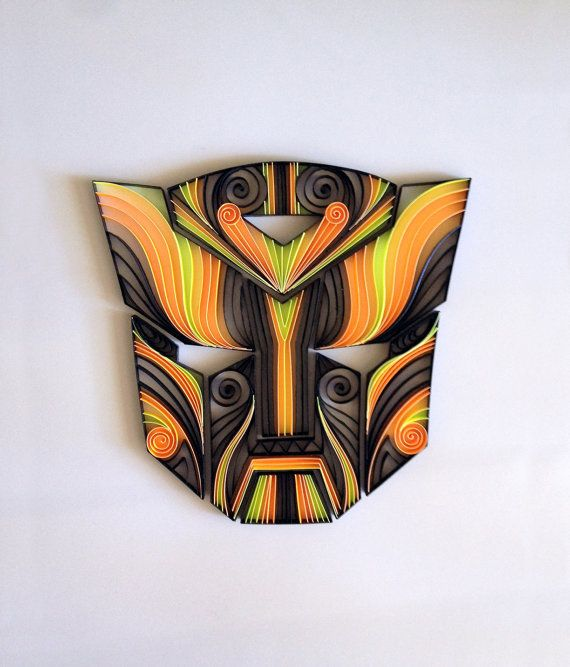 Quilled comic artTransformers Autobots Mask by AliaDesign on Etsy, $200.00