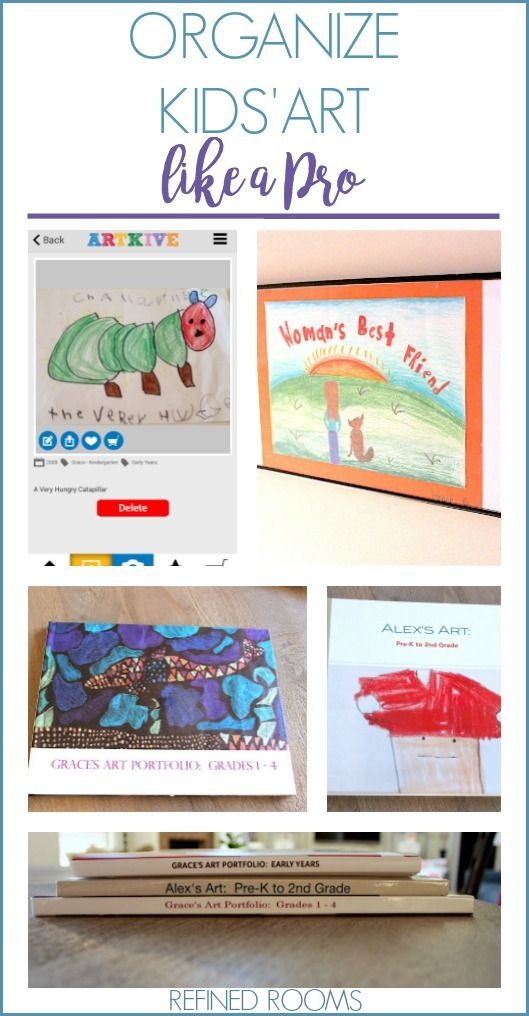 Overwhelmed by kids' art? Click here to see all of the options available for organizing kids artwork at the Refined Rooms blog!