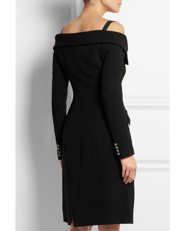 Faith Connexion Off the Shoulder Black Crepe Dress