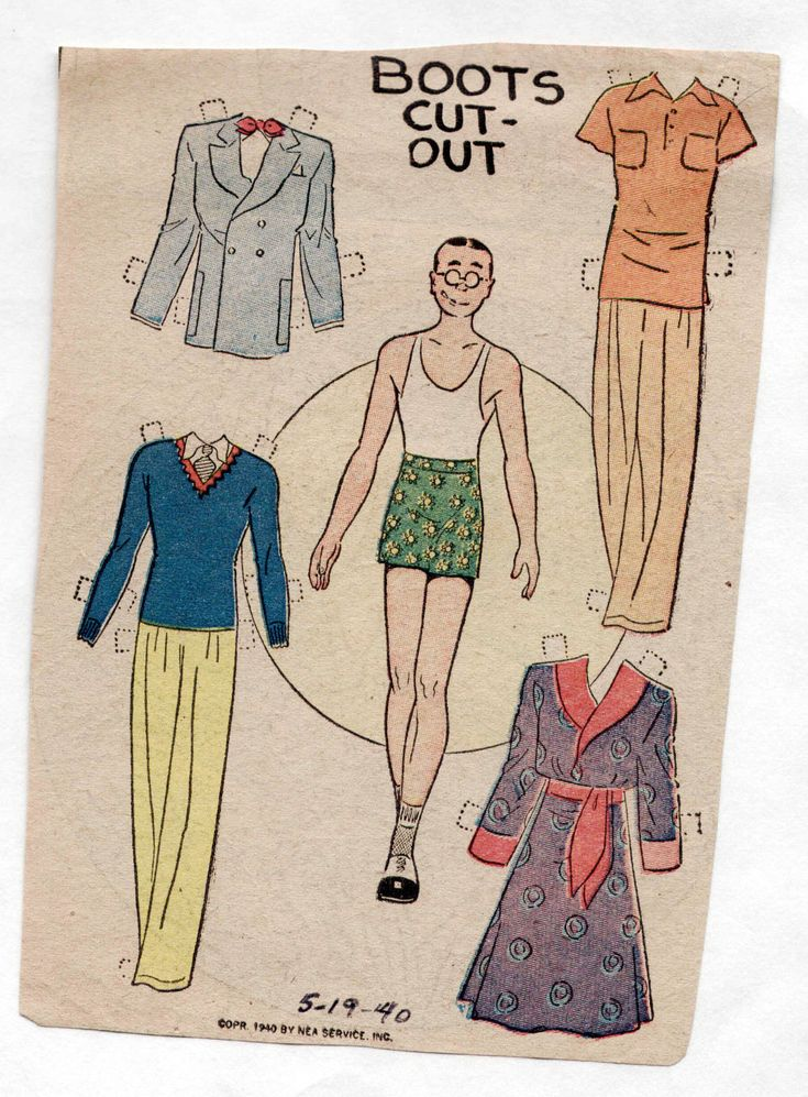 Vintage BOOTS paper dolls 1940 uncut panel Fellow/Robe/Suit+ newspaper funnies | Dolls & Bears, Paper Dolls, Vintage | eBay!