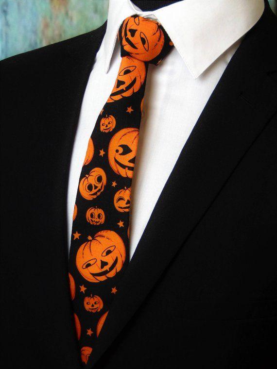 8a3d430a4911 Pumpkin Necktie – Mens Pumpkin Motif Halloween Necktie Also Available as a  Skinny Tie. #halloween #ties #pumpkins #jackolantern