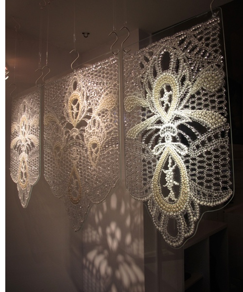 Joanna Manousis ~ Lace, 2008 Fused glass murrini and waterjet cut glass ~ 48 x 3/4 x 16 inches