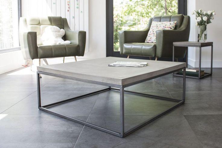 PERSPECTIVE grande table basse design minimaliste en béton et métal