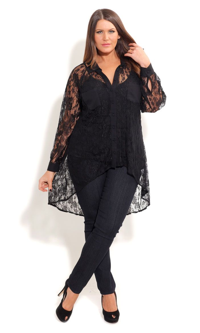 City Chic LACE SURPRISE SHIRT- Plus Size Fashion